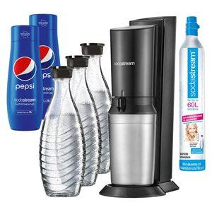 SodaStream CRYSTAL 2.0 Wassersprudler Black + 3 Karaffen +2 PEPSI schwarz, silber