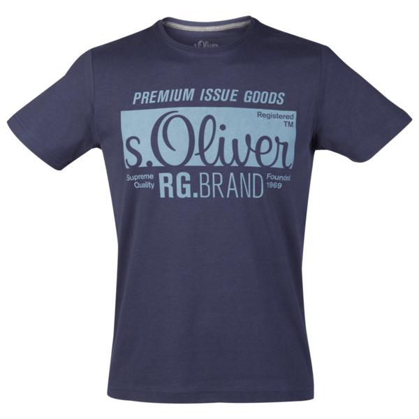 S.Oliver Logoshirt Größe L in Midnight Blau