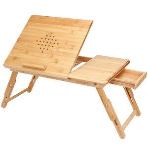 Deuba Laptoptisch Betttisch Bambus Höhenverstellbar 55x35x20-28cm