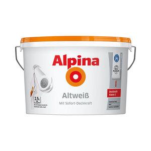 """Alpina              Wandfarbe """"Altweiß"""", Matt, 2,5 L"""