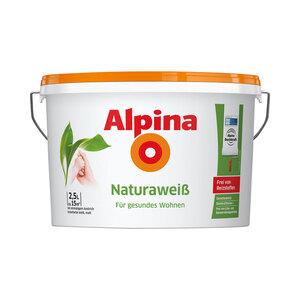 """Alpina              Wandfarbe """"Naturaweiß"""", Matt, 2,5 L"""