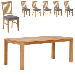 Essgruppe ROYAL OAK HAGE/ ROYAL OAK (90x190, 6 Stühle, grau)
