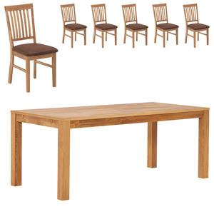 Essgruppe ROYAL OAK HAGE/ ROYAL OAK (90x190, 6 Stühle, braun)