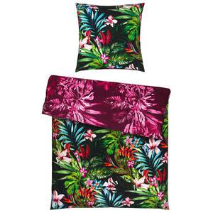 Ambiente Bettwäsche satin schwarz 155/220 cm , Botanica , Textil , Floral , 155x220 cm , Satin , 100% feinster Baumwollsatin mit Seiden-Finish , 007741013202