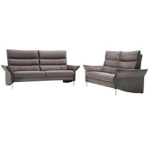Pure Home Comfort Sitzgarnitur velours grau , 822 -Exklusiv- , Textil , Uni , Velours , Typenauswahl, Lederauswahl, Stoffauswahl, Armteilvarianten, individuell planbar , 000274008201