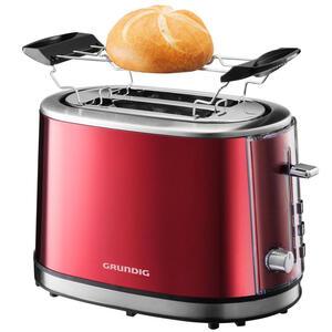 Grundig Toaster , TA 6330 Toaster Grundig , Rot, Edelstahlfarben , Metall , 32x19.6x17.7 cm , Krümelschublade, Brötchenaufsatz, Auftaufunktion, Aufwärmfunktion, Schnellstoppfunktion, Cool-Touch-Ge