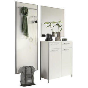 XXXLutz Garderobe weiß, alufarben , Limana , Metall, Glas , 140x195x38 cm , lackiert,Nachbildung , 001529006218
