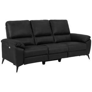 XXXLutz Dreisitzer-sofa lederlook, mikrofaser grau , Rana , Textil , 3-Sitzer , 215x102x96 cm , pulverbeschichtet,Lederlook, Mikrofaser , motorische Relaxfunktion , 001749050801