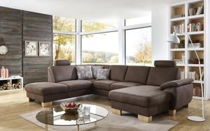 MCA furniture - Wohnlandschaft PP-LA18077 in nougat, mit Funktionen