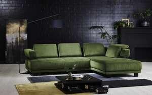 MCA furniture - Wohnlandschaft HU-HP 18064 in green, mit motorischer Vorziehbank