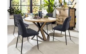 Habufa - Stuhlgruppe Remon/Ovada aus Eiche railway brown/schwarz
