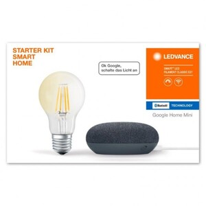 Ledvance Google Home mini Starter Kit ,  Speaker carbon + Filament Leuchtmittel