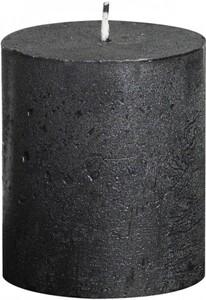 Bolsius Rustik Stumpenkerze Metallic ,  anthrazit, Höhe: 8 cm, Ø 6,8 cm