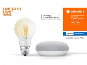 Ledvance Google Home mini Starter Kit kreide Speaker + Filament Leuchtmittel