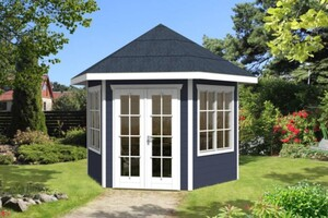 SKAN HOLZ Pavillon Almelo Größe 350 x 303 cm, Wandstärke 28 mm, schiefergrau