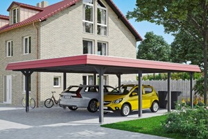 SKAN HOLZ Carport Wendland 630 x 879 cm mit Aluminiumdach, rote Blende, schiefergrau