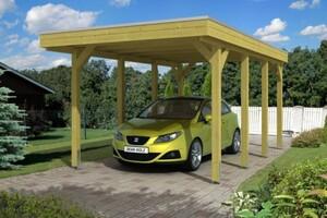 SKAN HOLZ Carport Friesland 314 x 555 cm, imprägniertes Nadelholz, Aluminium Dach