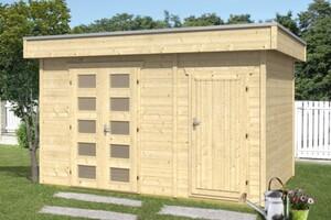 SKAN HOLZ Blockbohlenhaus Venlo 250 x 250 cm + seitlicher Abstellraum 130 x 250 cm, 28 mm, nordische Fichte unbehandelt