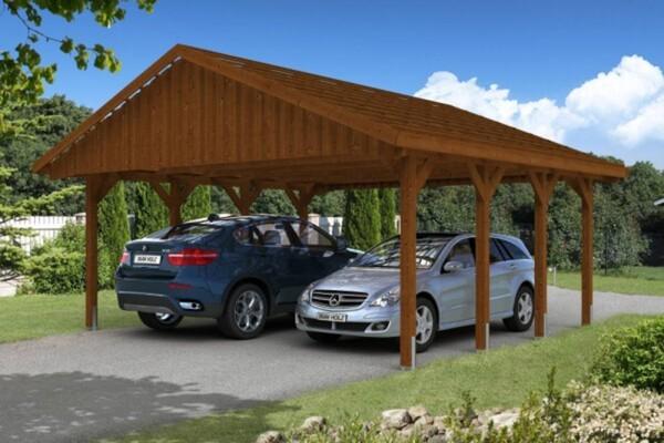 SKAN HOLZ Carport Sauerland 620 x 600 cm, Nadelholz, Lasiert in Nussbaum