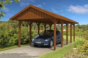 SKAN HOLZ Carport Sauerland 380 x 750 cm, Nadelholz, Lasiert in Nussbaum