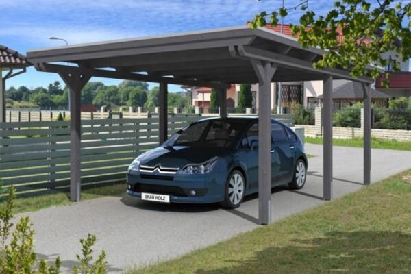 SKAN HOLZ Carport Emsland 404 x 604 cm, Leimholz, Lasiert in Schiefergrau