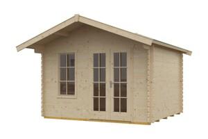 SKAN HOLZ Blockhaus Kreta Größe 340 x 300 cm, Wandstärke 28 mm, unbehandelt