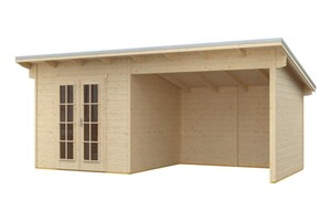 SKAN HOLZ Gartenhaus Texel Größe 550 x 250 cm, Wandstärekte 28 mm, unbehandelt