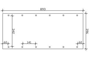 SKAN HOLZ Carport Spreewald 396 x 893 cm mit EPDM-Dach, schwarze Blende, nussbaum