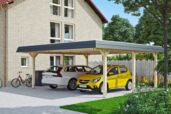 SKAN HOLZ Carport Wendland 630 x 637 cm mit EPDM-Dach, schwarze Blende