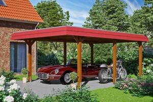 SKAN HOLZ Carport Wendland 409 x 628 cm mit EPDM-Dach, rote Blende, nussbaum