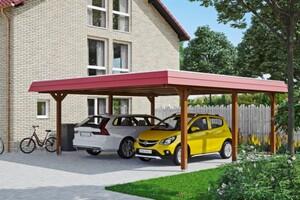 SKAN HOLZ Carport Wendland 630 x 637 cm mit Aluminiumdach, rote Blende, nussbaum