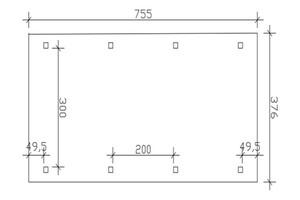 SKAN HOLZ Carport Franken 376 x 755 cm, weiß