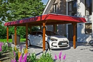 SKAN HOLZ Carport Wendland 362 x 870 cm mit Aluminiumdach, rote Blende, nussbaum