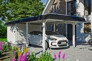 SKAN HOLZ Carport Wendland 362 x 870 cm mit Abstellraum, mit Aluminiumdach, schwarze Blende, weiß