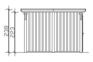 SKAN HOLZ Carport Emsland 354 x 846 cm mit EPDM-Dach, mit Abstellraum, nussbaum