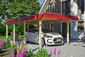 SKAN HOLZ Carport Wendland 362 x 870 cm mit Aluminiumdach, rote Blende