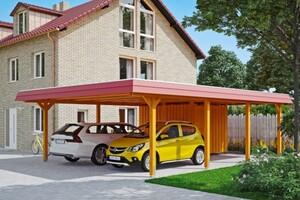 SKAN HOLZ Carport Wendland 630 x 879 cm mit Abstellraum, mit EPDM-Dach, rote Blende, eiche hell