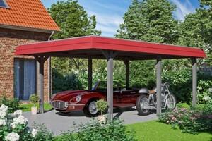 SKAN HOLZ Carport Wendland 409 x 628 cm mit Aluminiumdach, rote Blende, schiefergrau