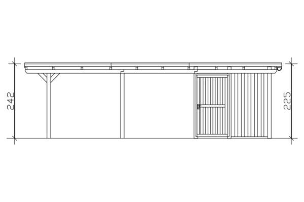 SKAN HOLZ Carport Emsland 404 x 846 cm mit Aluminiumdach, mit Abstellraum, weiß
