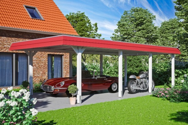 SKAN HOLZ Carport Wendland 409 x 870 cm mit EPDM-Dach, rote Blende, weiß
