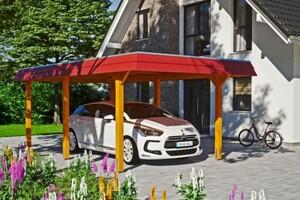 SKAN HOLZ Carport Wendland 362 x 628 cm mit EPDM-Dach, rote Blende, eiche hell