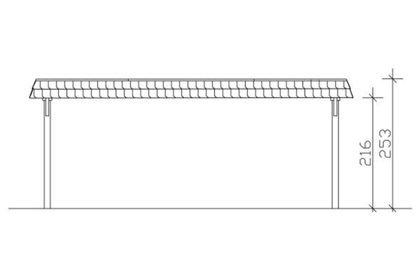 SKAN HOLZ Carport Wendland 630 x 879 cm mit EPDM-Dach, rote Blende, weiß