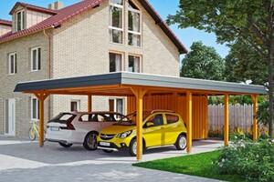 SKAN HOLZ Carport Wendland 630 x 879 cm mit Abstellraum, mit EPDM-Dach, schwarze Blende, eiche hell