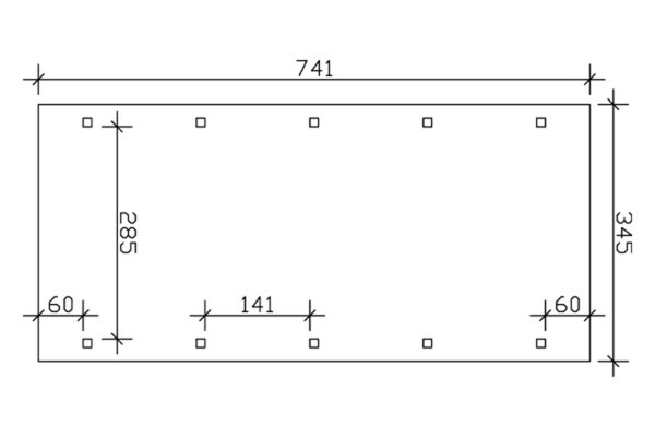 SKAN HOLZ Carport Spreewald 345 x 741 cm mit Aluminiumdach, schwarze Blende