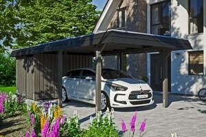 SKAN HOLZ Carport Wendland 362 x 870 cm mit Abstellraum, mit Aluminiumdach, schwarze Blende, schiefergrau