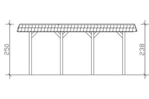 SKAN HOLZ Carport Spreewald 585 x 589 cm mit EPDM-Dach, rote Blende