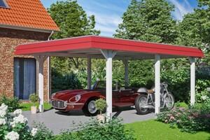 SKAN HOLZ Carport Wendland 409 x 628 cm mit Aluminiumdach, rote Blende, weiß
