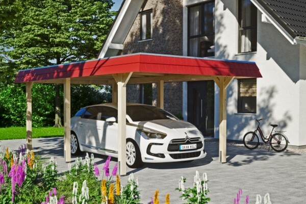 SKAN HOLZ Carport Wendland 362 x 628 cm mit EPDM-Dach, rote Blende