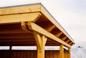SKAN HOLZ Carport Emsland 404 x 846 cm mit EPDM-Dach, mit Abstellraum, nussbaum