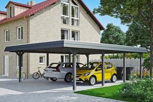 SKAN HOLZ Carport Wendland 630 x 879 cm mit EPDM-Dach, schwarze Blende, schiefergrau